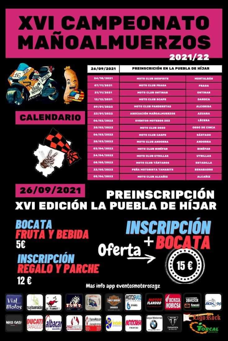 calendario concentraciones moteras mañoalmuerzos en Aragon