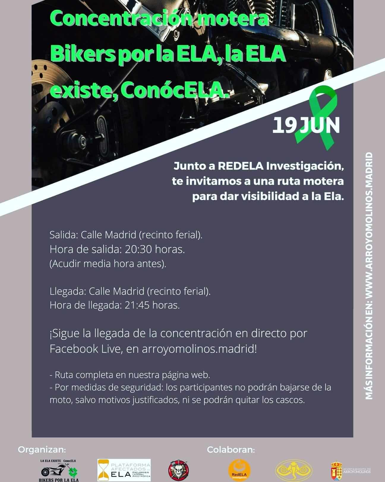 Concentración y Ruta Motera Bikers por la ELA en Arroyomolinos, Madrid.