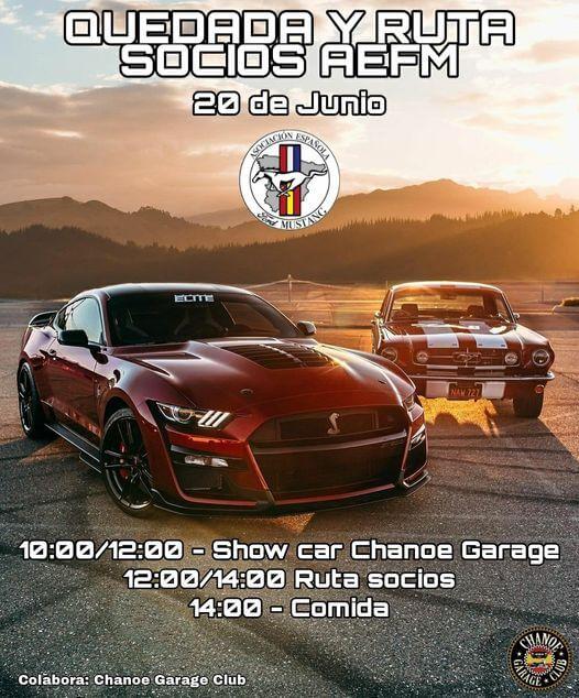Quedada y ruta Socios Asociación España Ford Mustang en Chanoe Garage, Madrid