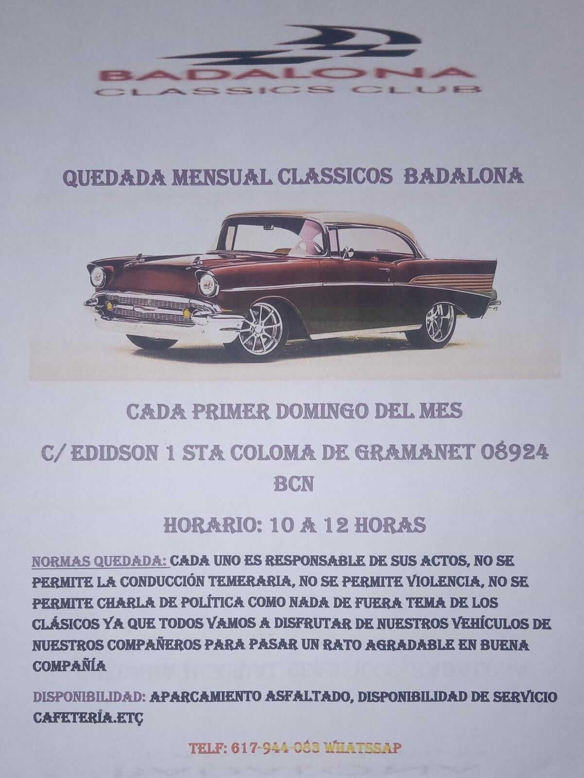 concentración mensual de vehículos clásicos en Badalona