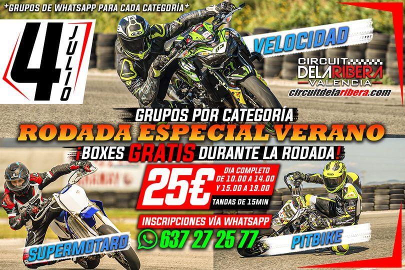 Rodada especial verano en el circuito La Ribera, Valencia.