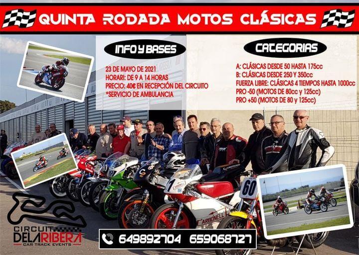 tandas motos clasicas en circuito la Ribera, Valencia
