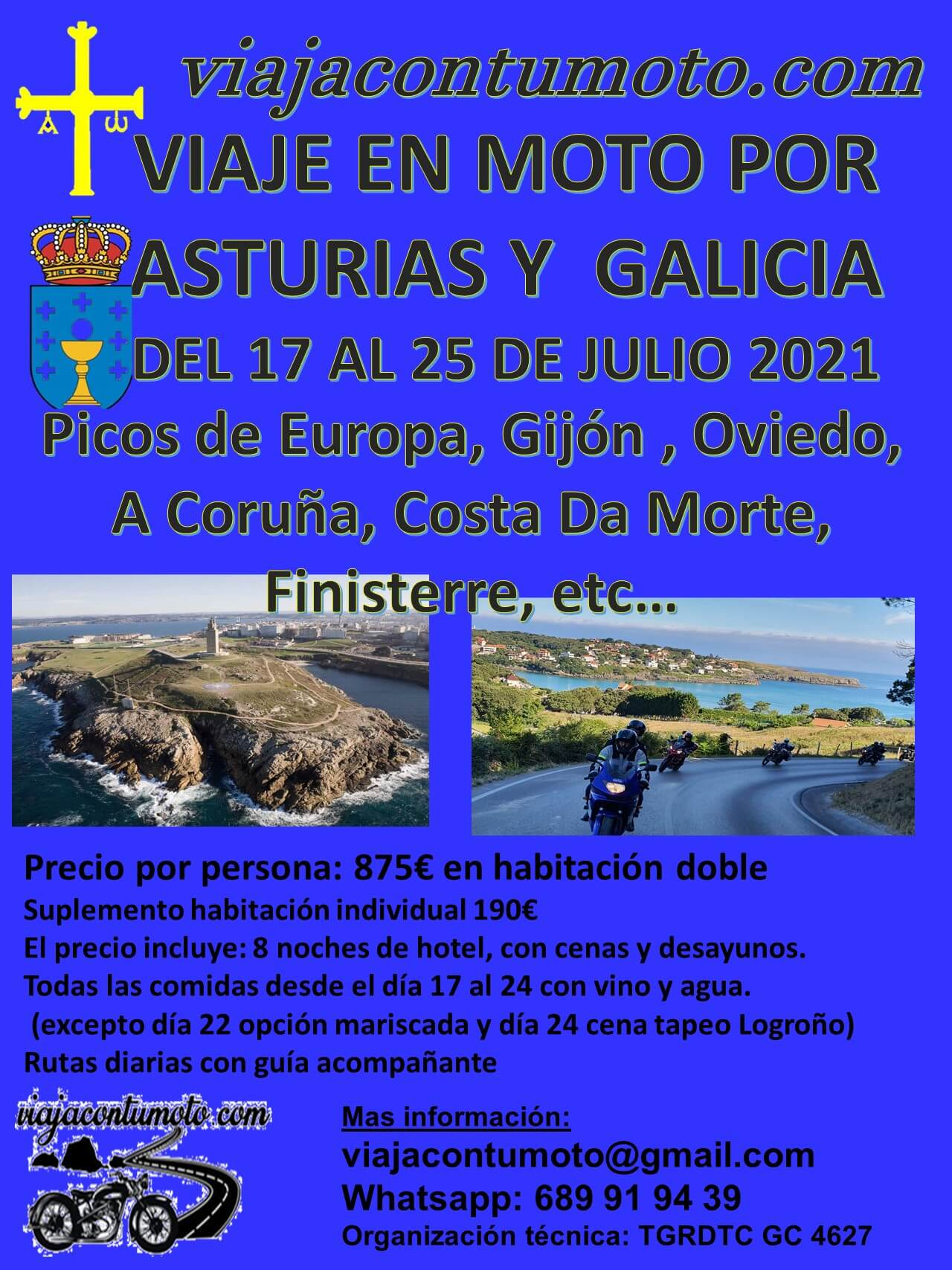 Viaje Motero por Asturias y Galicia, organizado por Viaja con tu Moto.