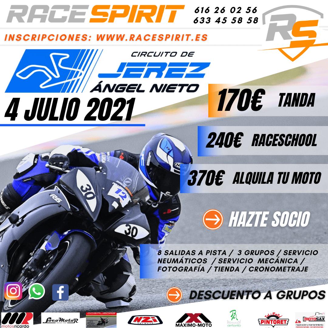 Tandas Moteras en el circuito de Jerez, organizadas por Race Spirit.